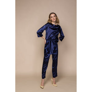 Blue Satin Top and Trousers Co Ordinates Women - Apparel - Pants - Trousers - Brisho.com