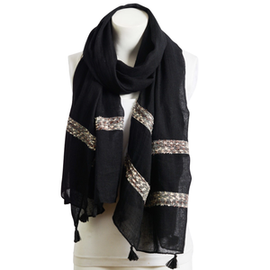 Black Boho Unique Stitch Tassel Scarf Women - Accessories - Scarves - Brisho.com