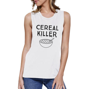 Cereal Killer Womens White Muscle Top Women - Apparel - Activewear - Tops - Brisho.com