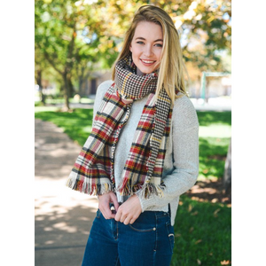 Red, Black & Ivory Classic Plaid Blanket Scarf Women - Accessories - Scarves - Brisho.com