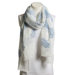 Beautiful Blue & White Boho Handprint Crinkle Scarf