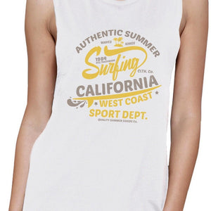 Authentic Summer Surfing California Womens White Muscle Top Women - Apparel - Activewear - Tops - Brisho.com