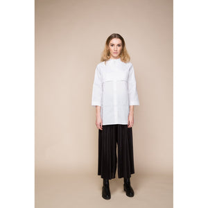 White Long Shirt with Grandad Collar