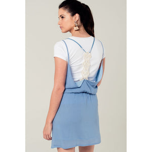 Blue mini dress with back crochet detail Women - Apparel - Dresses - Day to Night - Brisho.com