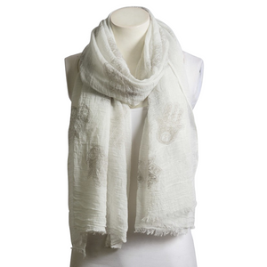 Beautiful Gray & White Boho Handprint Crinkle Scarf