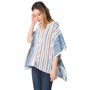 Blue oversized poncho top in tribe print Women - Apparel - Outerwear - Jackets - Brisho.com