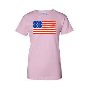 Women's USA Flag Juniors T-Shirt American Paintes Stars & Stripes Women - Apparel - Shirts - T-Shirts - Brisho.com