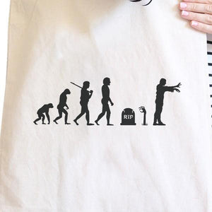 Zombie Evolution Natural Canvas Bags Women - Bags - Totes - Brisho.com