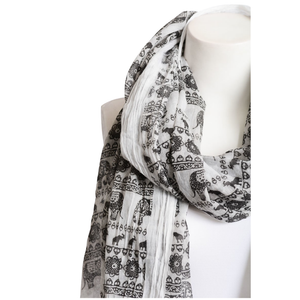 Beautiful Black & White Lightweight Elephant Boho Scarf