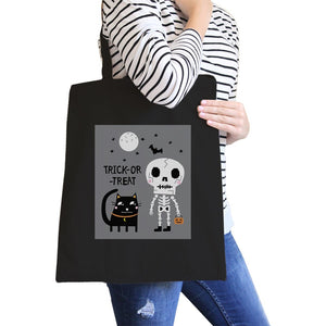 Trick-Or-Treat Skeleton Black Cat Black Canvas Bags Women - Bags - Totes - Brisho.com