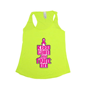Women's Keep Calm & Fight On Breast Cancer Awareness Tri blend Tank NEON YELLOW Women - Apparel - Shirts - Sleeveless - Brisho.com