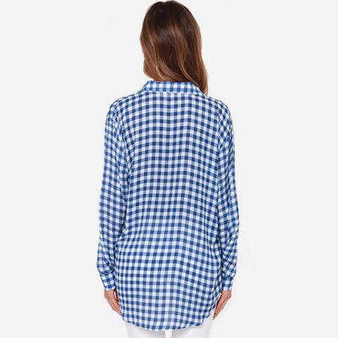 Blue Plaid Blouses