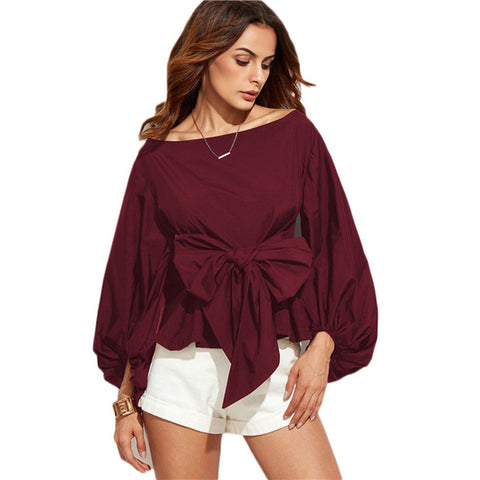 Long Sleeve Boat Neck Blouse