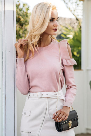Elegant Cold Shoulder Pullover