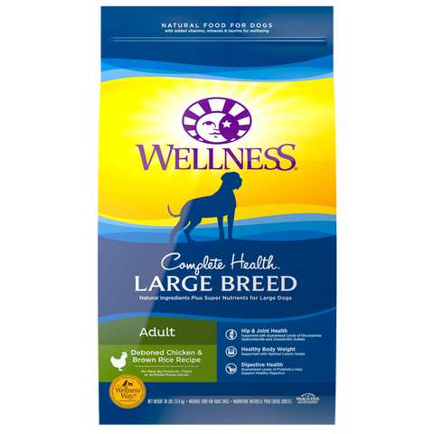Wellness Complete Health Natural Large Breed Adult Chicken and Brown Rice Recipe Dry Dog Food