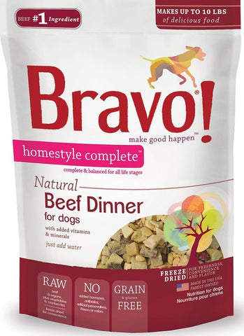 Bravo! Freeze Dried Homestyle Complete Beef Dinner For Dogs Food