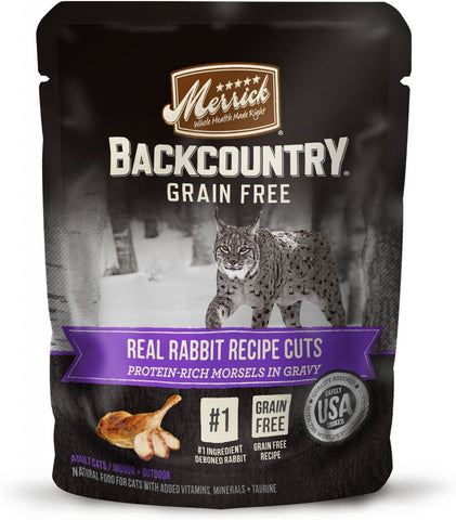 Merrick Backcountry Grain Free Real Rabbit Cuts Recipe Cat Food Pouch