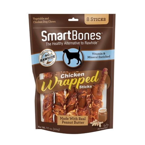 SmartBones Chicken Wrap Sticks Peanut Butter Dog Treat