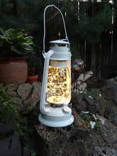 Classic White Hurricane Lantern with LED lights