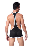 SXYFKR Sexy Mesh Wrestling Suit Black/White