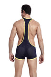 SXYFKR Sexy Mesh Wrestling Suit Navy/Yellow