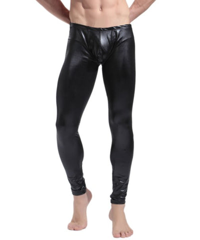 SXYFKR Faux Leather Tight Pants Black