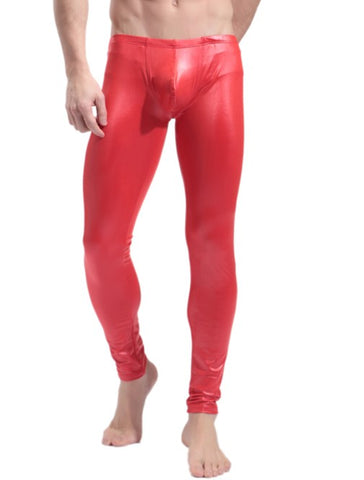 SXYFKR Faux Leather Tight Pants Red