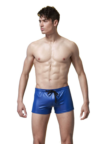 SXYFKR Faux Leather Shorts Blue