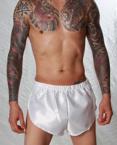 Poly Satin Hi-Cut Bed Short - Small to 4XL - White