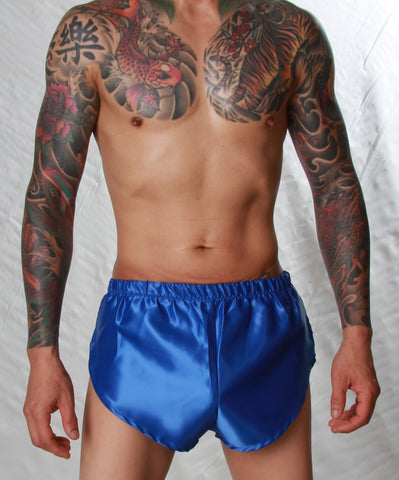 Poly Satin Hi-Cut Bed Short - Small to 4XL - Royal Blue