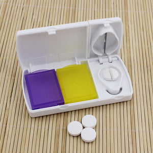Medication Storage Container With Pill Cutter