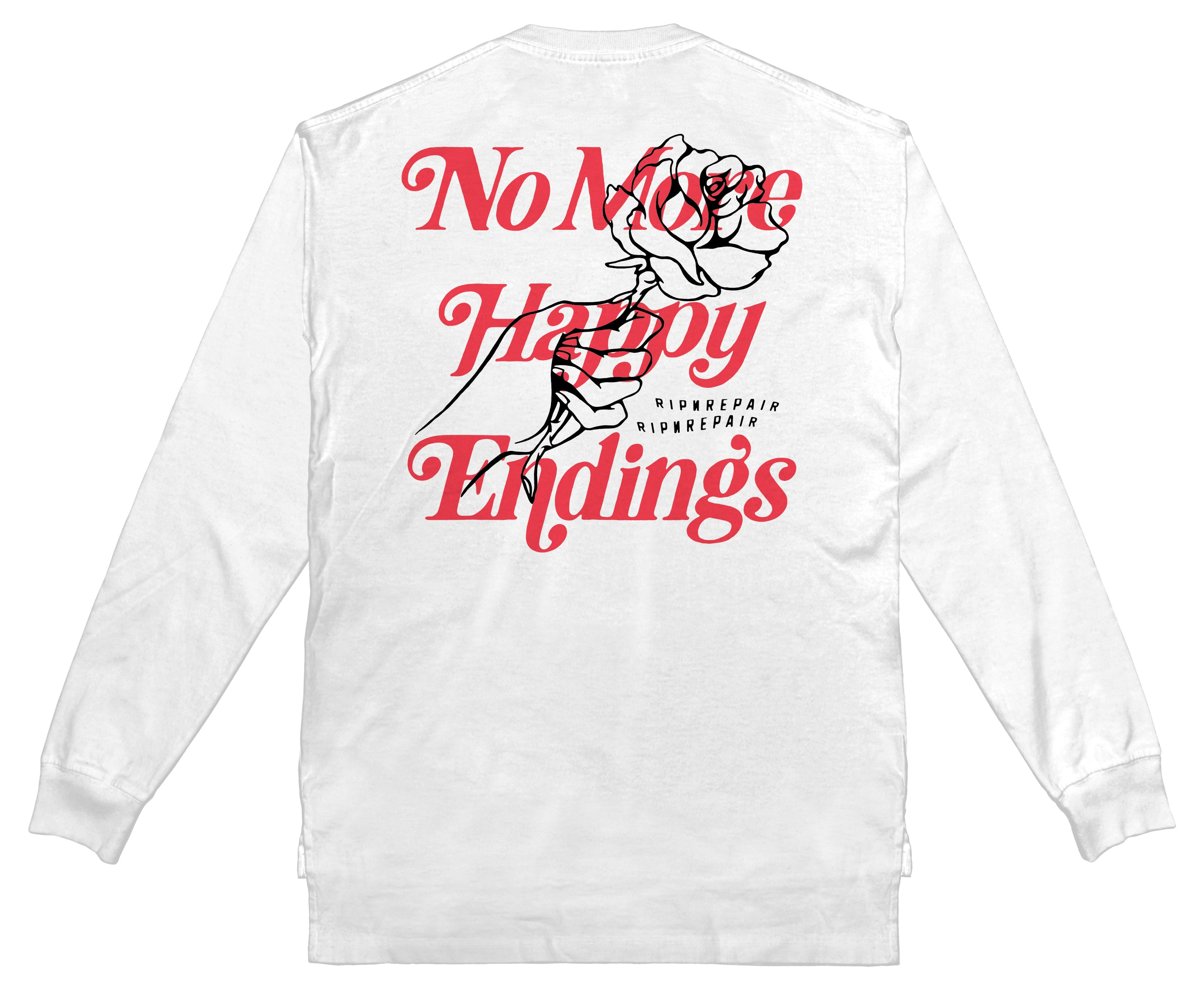 No More Happy Endings Long Sleeve - WHITE