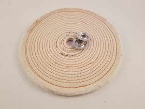 "Buffing Wheel Spiral Sewn Cotton ¼"" Thick - Available in 4"", 6"", 8"" & 10"" Diameters"