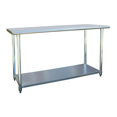 Heavy 60 x 24 inch Stainless Steel Work Bench Utility Table with Rounded Edges