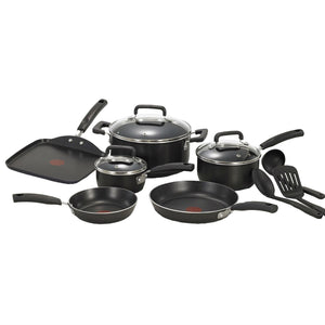 12-Piece Nonstick Dishwasher Safe Cookware Set in Black