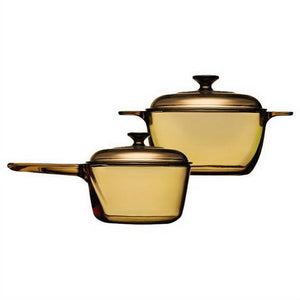 4-Piece Glass Cookware Set with Saucepan Stewpot and Lids