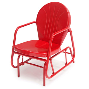 Red Retro Modern Classic Outdoor Patio Glider Chair with Armrests