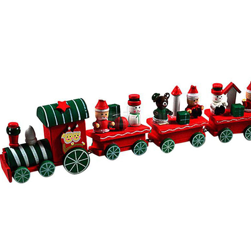 4 Pieces Mini Christmas Train Wood Christmas Xmas Train Decoration Decor Gift Wooden toy Christmas Toys for children