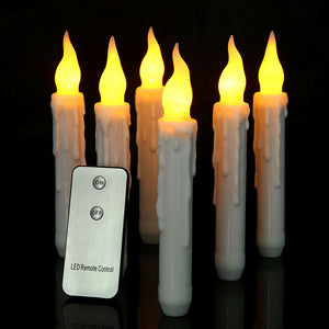 LED Electronic Wax Candle Flameless Pillar Yellow Flashing Bougies For Thanksgiving Halloween Party With Wireless Remote Control