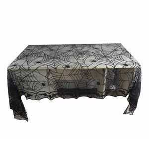 New 244*122CM Lace Black Spider Web Halloween Decoration For Home Party Props Rectangle Tablecover Tablecloth Overlay Cobweb