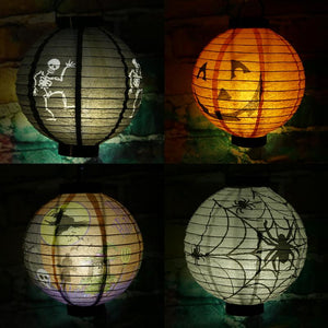 LED Paper Lantern Halloween Pumpkin Hanging Ornaments Light Lamp for Halloween Festival Party Holiday Decoration