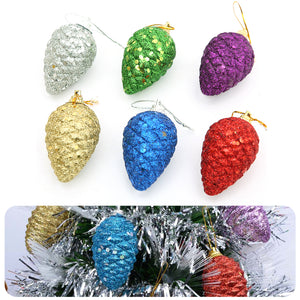 Shiny Glitter Pinecone Hanging Xmas Tree Ornaments Christmas Party Decoration for Home New Year Supplies