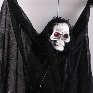 Voice Activated Halloween Skull Skeleton Ghost Hanging Decor Terrible Scary Ghost with Glowing Red Eyes Haunted Tricky Newest