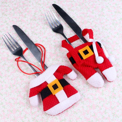 Small Santa Clothes Trouser Tableware Set Fork knife Holder Christmas Table Decoration Ornaments Home Dinner Party Decor