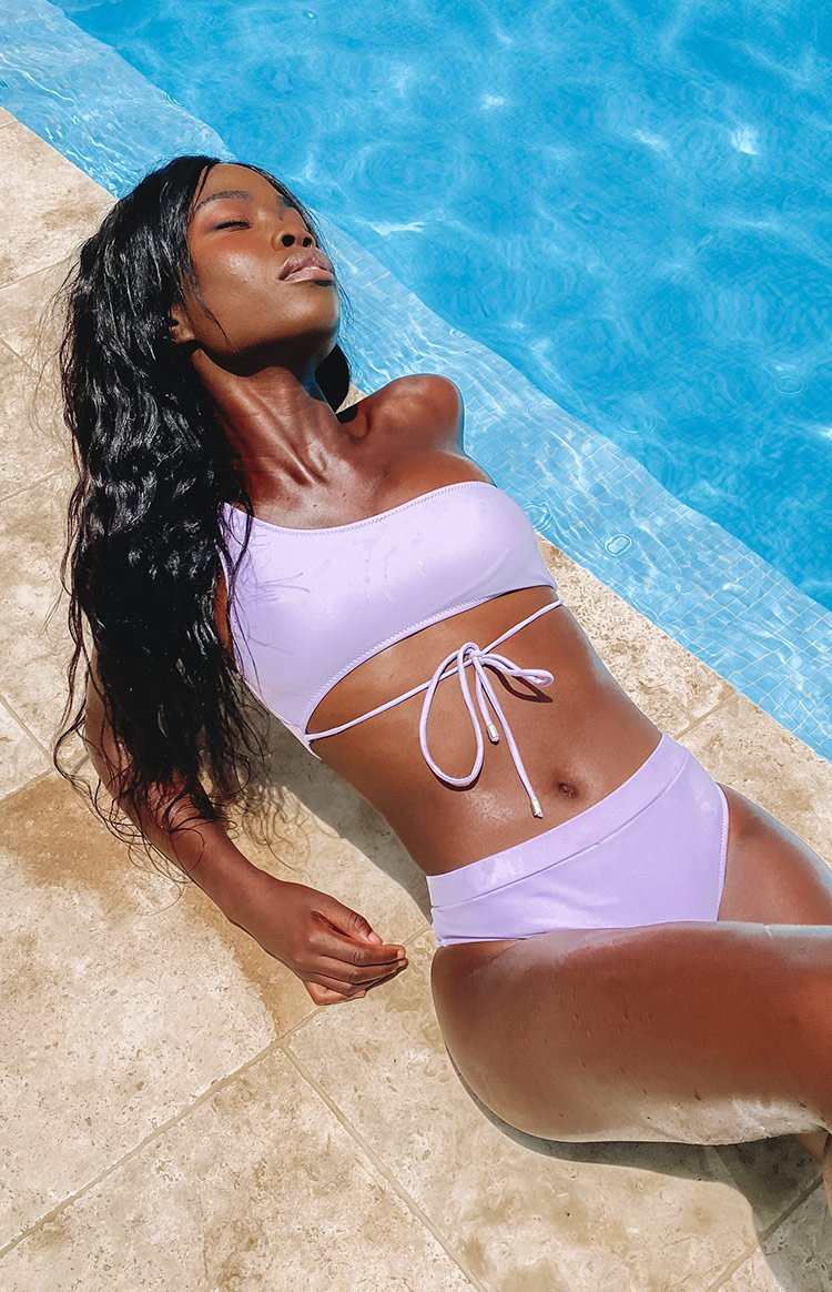 9.0 Swim x Ariella Aquata Asymmetrical Bikini Top Lilac