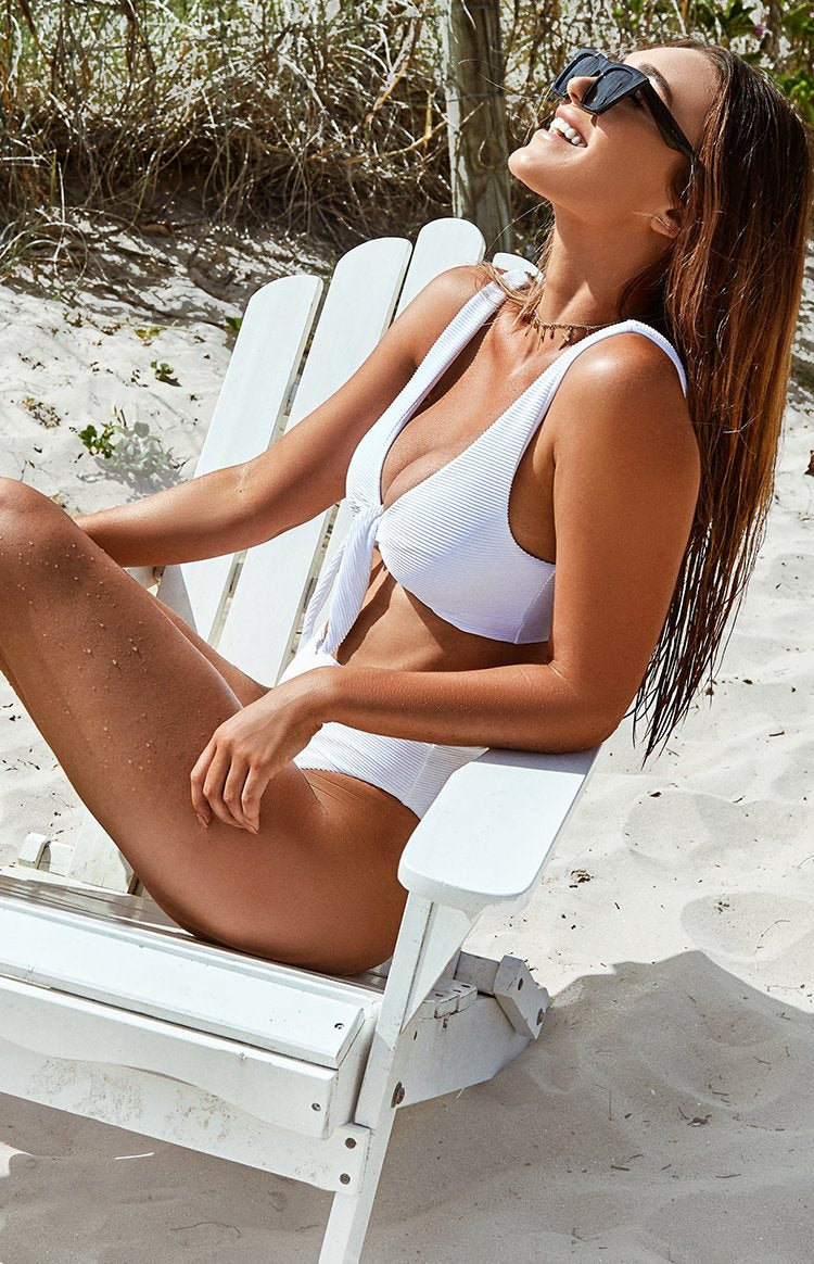 9.0 Swim St Lucia Bikini Set White Ribbing