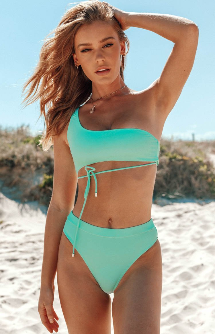 9.0 Swim x Ariella Aquata Asymmetrical Bikini Top Mint Green