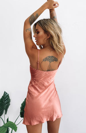 Between Us Mini Satin Dress Rust