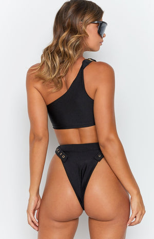 9.0 Swim Cabana Bikini Top Metallic Black