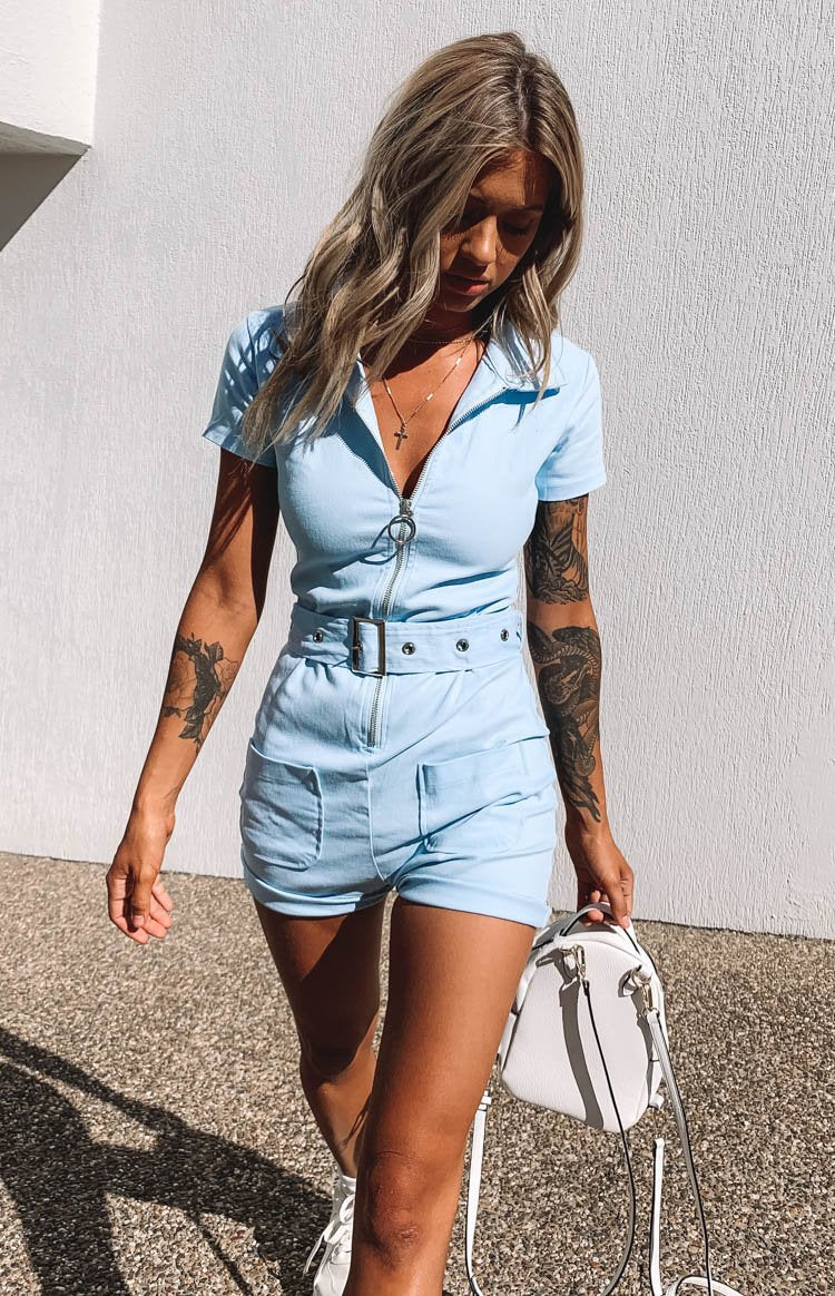 Charlie Zip Up Romper Light Blue